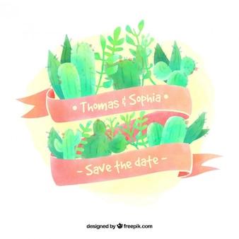 Aquarell-hochzeitskarte mit blättern und kaktus