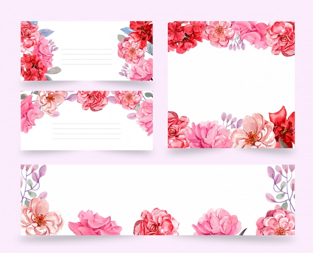 Aquarell, hochzeitskarte und banner, set blumen