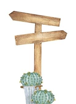 Aquarell hölzerner wegweiser mit kaktus. wegbeschreibung zu verschiedenen orten.