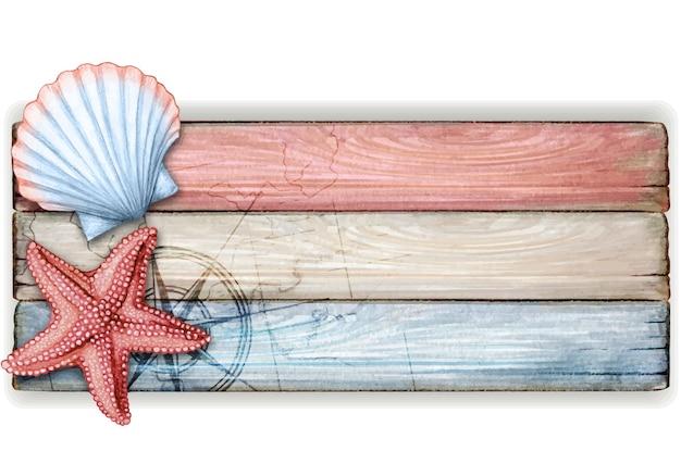 Aquarell hölzernes nautisches weinlesebanner