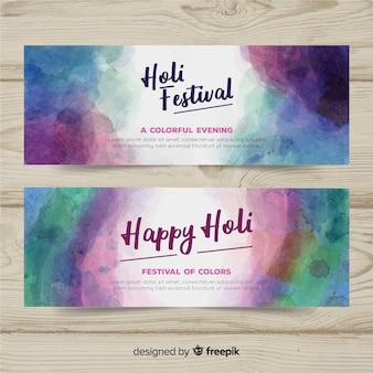 Aquarell holi festival banner