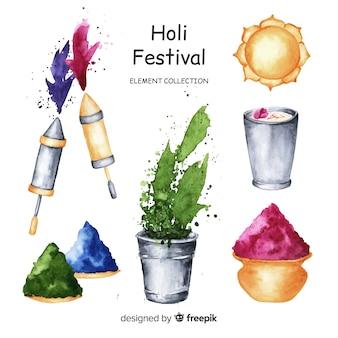 Aquarell holi festival elementsammlung