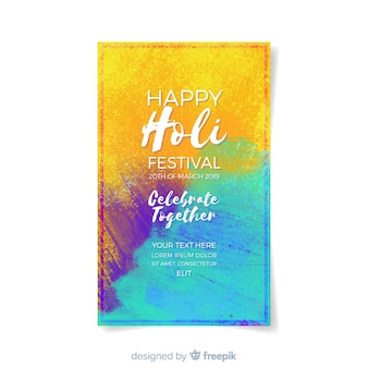 Aquarell holi festival flyer vorlage