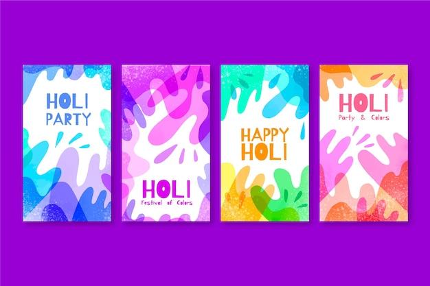 Aquarell holi festival instagram geschichten sammlung