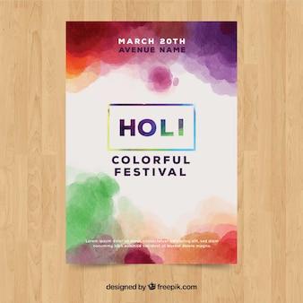 Aquarell holi festival poster