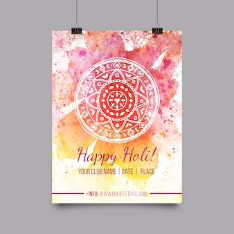 Aquarell holi plakat mit mandala