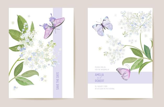Aquarell holunder blumenhochzeitskarte. vektor weiße frühlingsblumen einladung. boho-vorlagenrahmen. botanische save the date laubabdeckung, modernes design poster