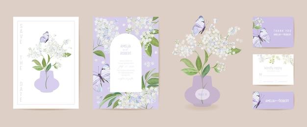 Aquarell holunder und schmetterling blumenhochzeitskarte. vektor weiße frühlingsblumen einladung. boho-vorlagenrahmen. botanische save the date laubabdeckung, modernes design poster