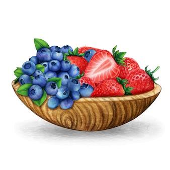 Aquarell-holzschale voller frischer blaubeeren und erdbeeren