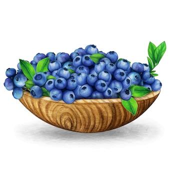 Aquarell-holzschale voller frischer blaubeeren