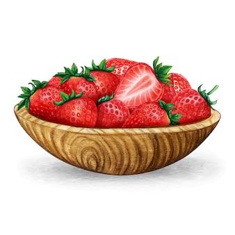 Aquarell-holzschale voller frischer erdbeeren