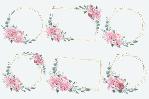 Aquarell-hortensien- und rosenblumenrahmen-sammlung