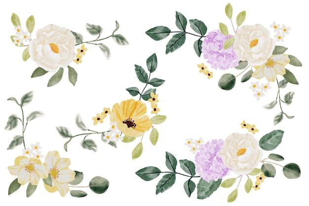 Aquarell hortensien- und wildblumenblumenstraußsammlung lokalisiert auf digitaler malerei des weißen hintergrundes