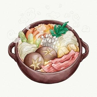 Aquarell-hot-pot-illustration