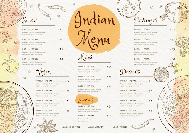 Aquarell indische menüvorlage