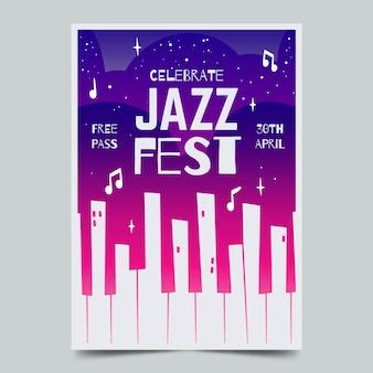 Aquarell internationale jazz day flyer vorlage