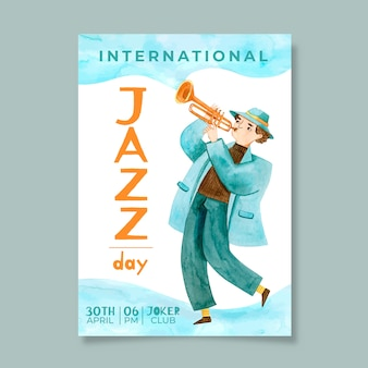 Aquarell internationale jazz day flyer vorlage