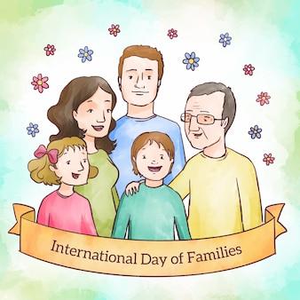Aquarell internationaler tag der familien