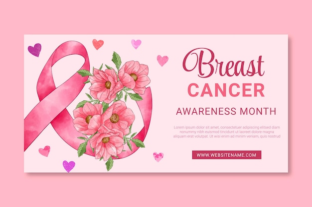 Aquarell internationaler tag gegen brustkrebs social media beitragsvorlage