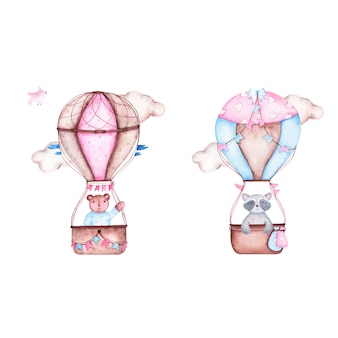 Aquarell ist es jungenbabyparty mit niedlichem heißluftballon mit bärnwaschbären