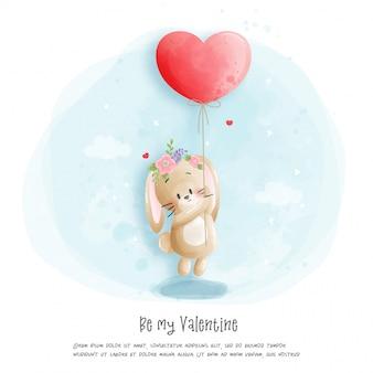 Aquarell kaninchen illustration, sei mein valentinstag