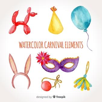Aquarell Karneval Elementsammlung