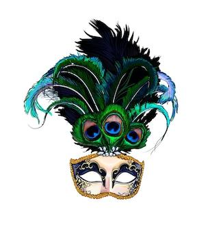 Aquarell karneval venezianische maske auf weiß