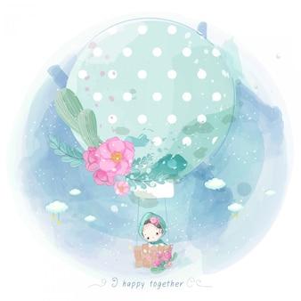 Aquarell kind in einem ballon mit blumen