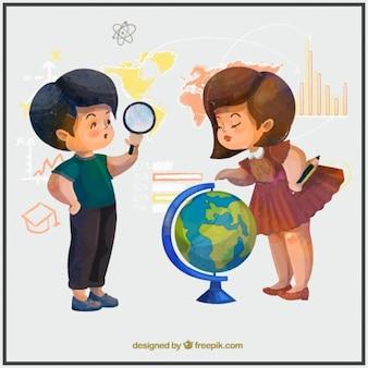 Aquarell kinder geographie studieren