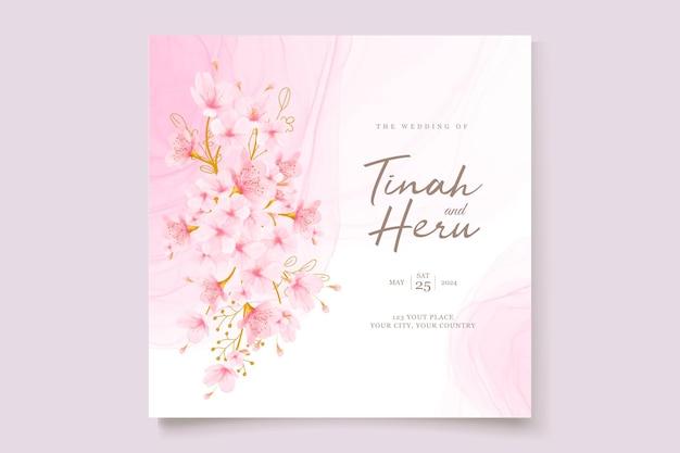 Aquarell kirschblüte blumen und blätter kartenset