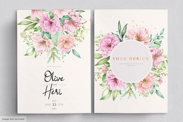 Aquarell-kirschblüten-einladungskartensatz