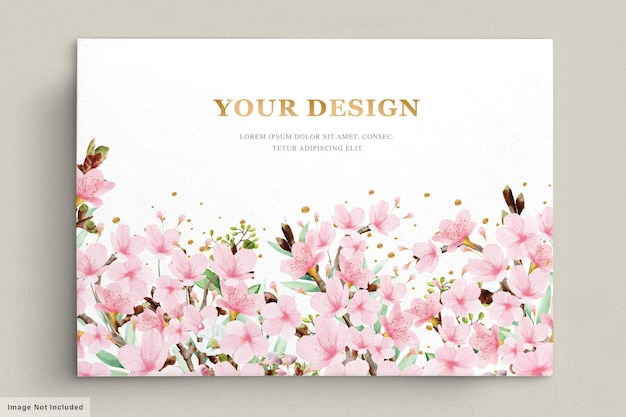 Aquarell-kirschblüten-einladungskartenschablone