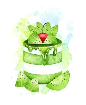 Aquarell kiwi obstkuchen