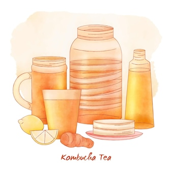Aquarell-kombucha-tee-konzept