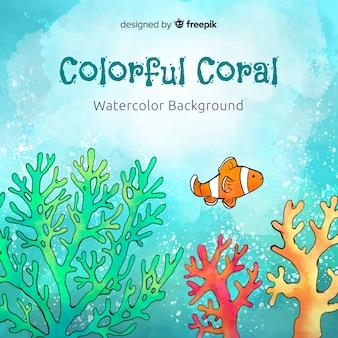 Aquarell korallen hintergrund