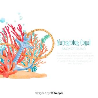Aquarell korallen hintergrundvorlage