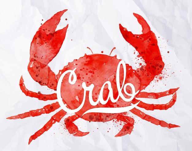 Aquarell krabbe mit schriftzug krabbe
