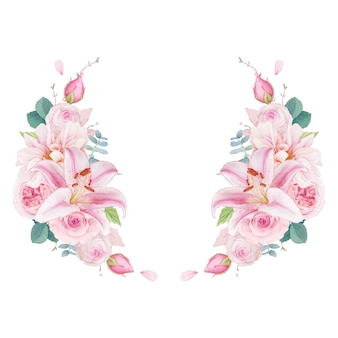 Aquarell kranz aus rosa rosen lilie und dahlie