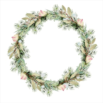 Aquarell kranz mit weihnachten und neujahr und blumenelementen