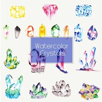 Aquarell-kristalle-elemente