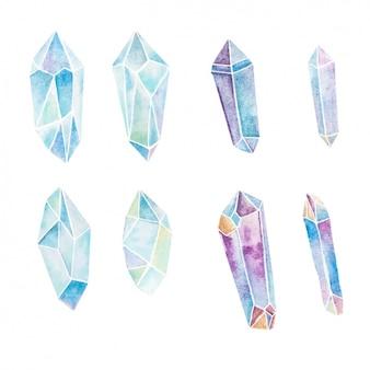 Aquarell kristalle sammlung