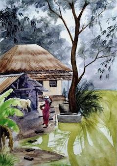 Aquarell ländliche dorfszene hand gezeichnete illustration