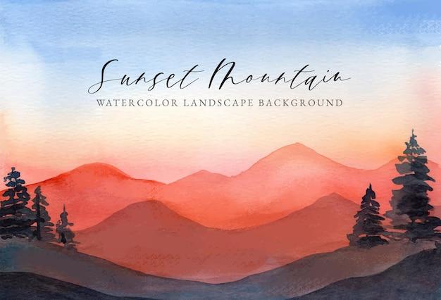 Aquarell landschaft hintergrund sonnenuntergang berg