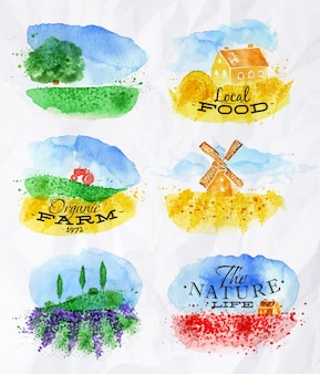Aquarell landschaften symbole