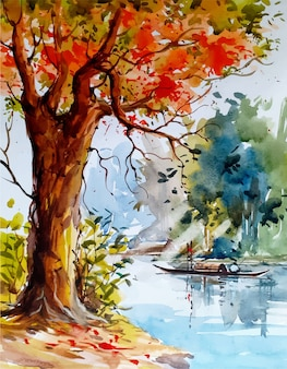 Aquarell landschaftsskizze natur