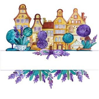 Aquarell lavendel und winziger stadthintergrund