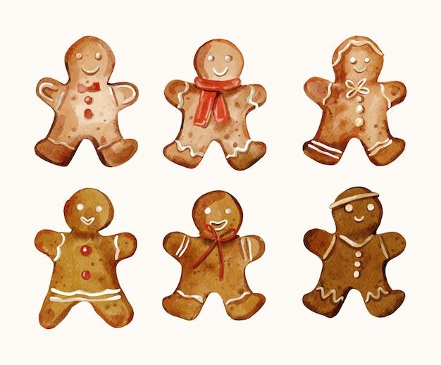 Aquarell lebkuchenmann cookies sammlung