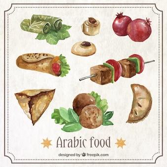 Aquarell leckere arabische mittagessen