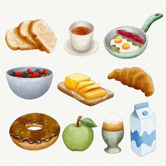 Aquarell leckere frühstücksartikel