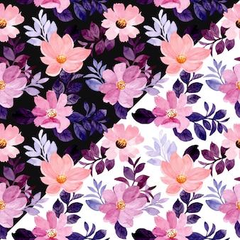 Aquarell lila blumen nahtloses muster